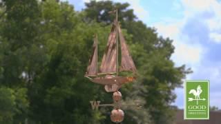 Large Sailboat Estate Weathervane - Polished Copper - Good Directions