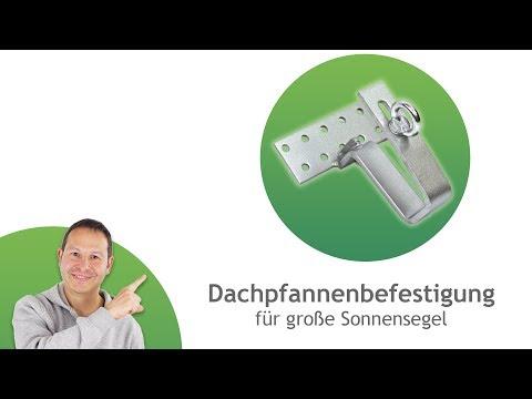 Dachpfannen-Befestigung aus Edelstahl für große Segel, inkl. 4x HECO-TOPIX Holzbau-Schrauben