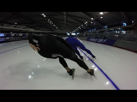 POV video of speed skating. Incredible coordination and movement