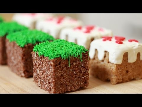 nerdy - Today I made Minecraft Cake and Grass Block Rice Krispy Treats! I really enjoy making nerdy themed goodies and decorating them. I'm not a pro, but I love bak...