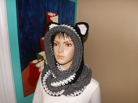 Crochet Cowl, Infinity Scarf with Hood Or Scoodie With Ears.