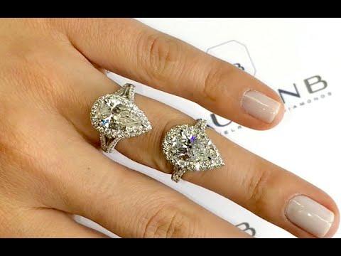 Comparing 2 carat Pear Shape Diamond Halo Engagement Designs