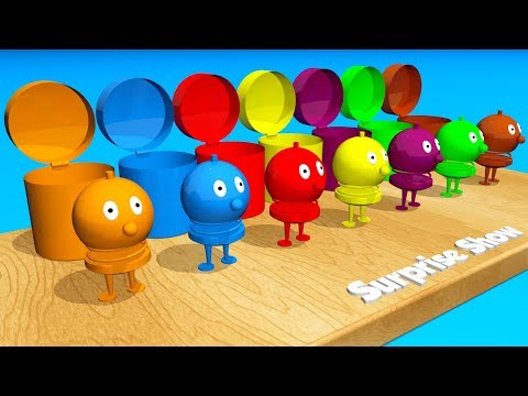 Toddlers learn colors. Learning videos for kids with 3D сolor Mega Bumble.