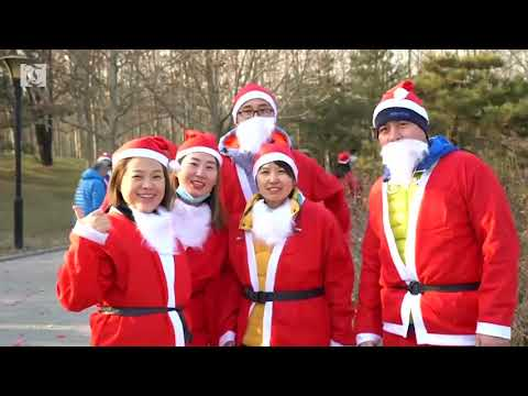 Hundreds of people in Beijing dressed up in Santa Claus outfits to participate in a festive race ahead of Christmas