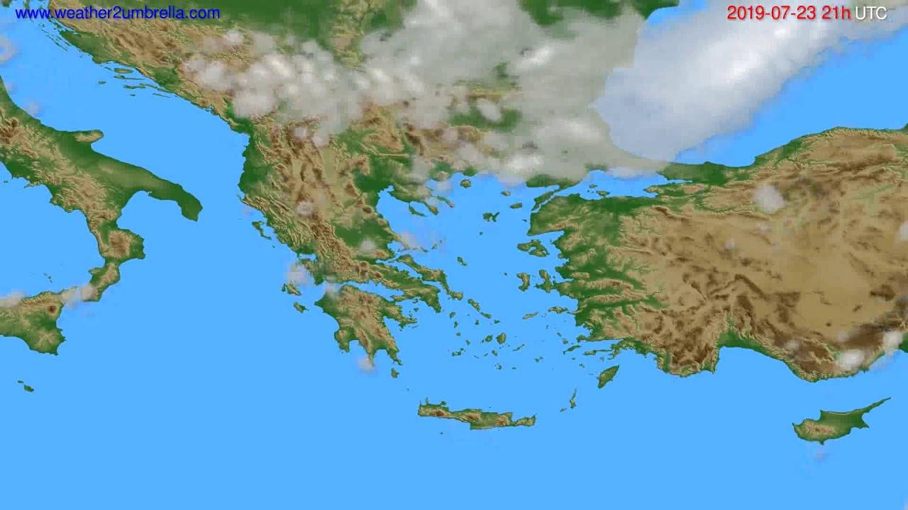 Cloud forecast Greece // modelrun: 00h UTC 2019-07-22
