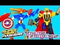 Video: NEW Super Hero Mashers Transformers BumbleBee Strafe Spiderman Thor Iron Man Swappable Gear Toys