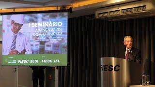 FIESC promove o 1º Seminário Aliança Saúde Competitividade. O encontro, iniciativa da Aliança Saúde Competitividade, discutiu os desafios e perspectivas para a saúde e segurança do trabalhador, além de ressaltar a importância de se discutir o tema junto à sociedade.