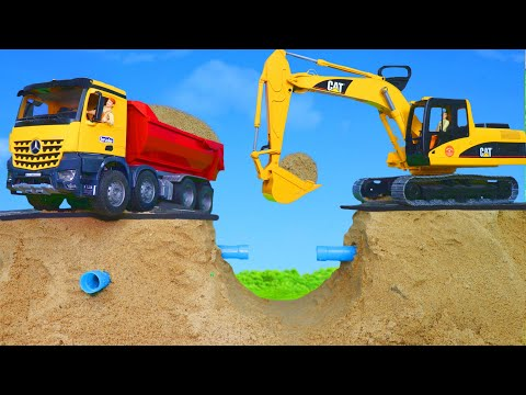 Excavator, Dump Truck, Crane, Concrete Mixer, Fire Truck & Police Cars Toy Vehicles for Kids