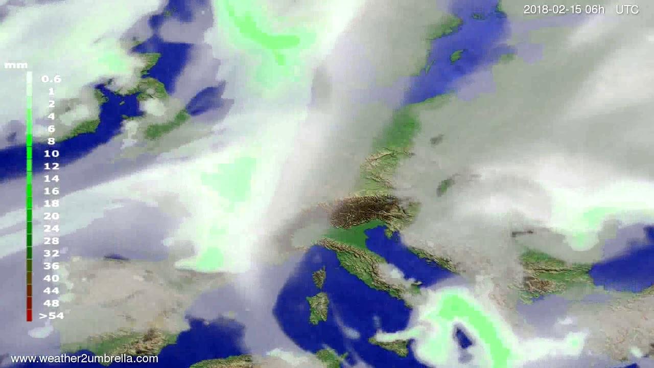 Precipitation forecast Europe 2018-02-12