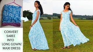 Video DIY:Convert Old Saree into Long Gown/ Maxi Dress | Arpana download in MP3, 3GP, MP4, WEBM, AVI, FLV January 2017