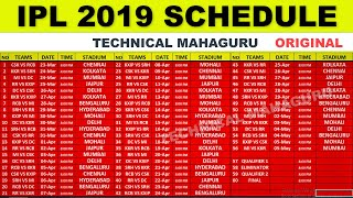 IPL 2019 Schedule - IPL 2019 Time Table - IPL 2019 STARTING DATE - TECHNICAL MAHAGURU