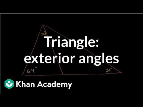 Triangle exterior angle example video khan academy for Exterior angles of a triangle calculator