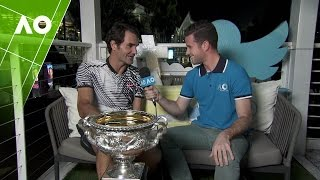 Roger Federer joins Reporter Nick McCarvel in the Twitter Blue Room and reflects on his championship win and that awkward match point at the Australian Open 2017.