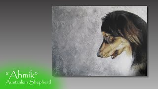Speed painting Australian Shepherd in acrylics and colored pencil