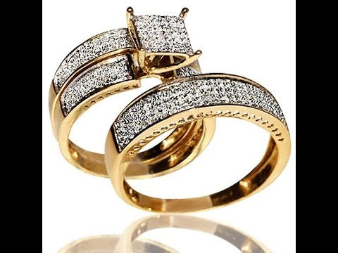 1ct Diamond Yellow Gold Trio Wedding Set Princess cut Style Pave His and Her Review