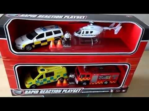 TOP 4 EMERGENCY VEHICLE BOYS TOYS POLICE CAR HELICOPTER AMBULANCE FIRE ENGINE WITH LEDS AND SOUNDS