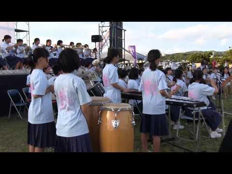 種子島中学校吹奏楽部の演奏 in 種子島鉄砲まつり演芸大会2013