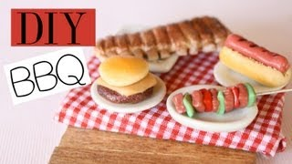 Backyard BBQ - Polymer Clay Food Tutorial - RIbs, Hot Dogs, Cheeseburger, Hamburger, Vegetable Kabob - YouTube