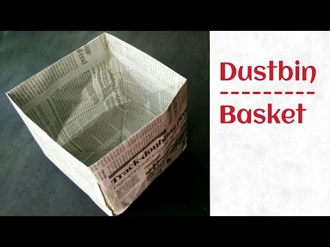 Trash bin | Dustbin from Newspaper (Go Green) - Tutorial by Paper Folds ❤️.