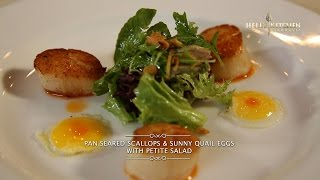Video Hell's Kitchen at Home #1 - Pan Seared Scallops & Sunny Quail Eggs with Petite Salad by Chef Juna MP3, 3GP, MP4, WEBM, AVI, FLV Maret 2019