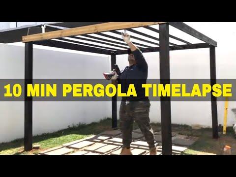 DIY PERGOLA BUILD TIMELAPSE l Wooden Pergola in UNDER 10 MINUTES l How To