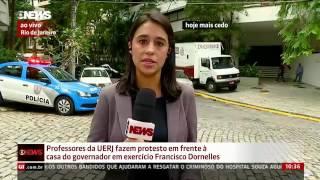 Servidores da Uerj protestam em frente à casa de Dornelles no Rio de Janeiro