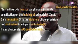 All Progressives Congress (APC) national legal adviser, Mr. Muiz Banire reacts to protest against him in Lagos by some members of the party calling for his expulsion.