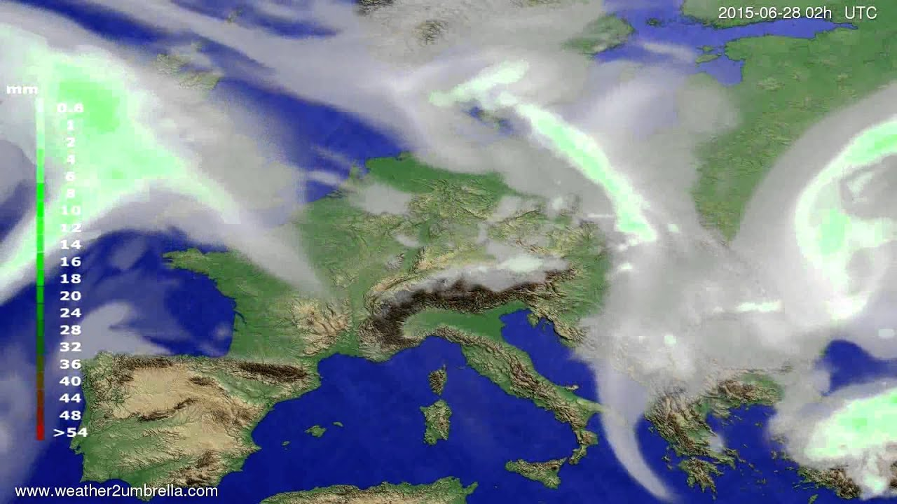 Precipitation forecast Europe 2015-06-24