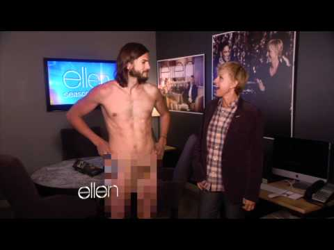 kutcher - That's right! For Ellen's Season Premiere, Ashton Kutcher spared no expense, except for one: clothes! Before the show he was wearing nothing more than a robe...