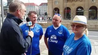 Evertonians join Diamond and Darren to discuss tonight's game and the atmosphere in Dresden.