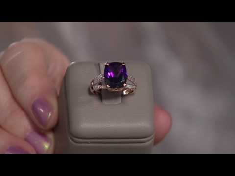 Elongated Cushion African Amethyst & Diamond Ring 14K, 4.00 ct on QVC