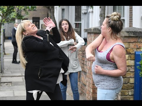 EastEnders - Karen Taylor Punches Sharon Mitchell (16th June 2017)