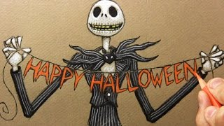 """Drawing Time Lapse: Jack Skellington from """"The Nightmare Before Christmas"""""""