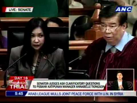 PS Bank Katipunan Branch Manager Annabelle Tiongson takes witness stand
