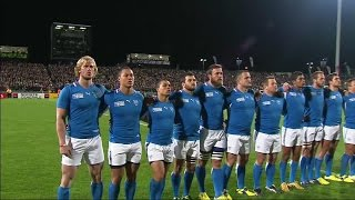 Namibia sing their national anthem at Rugby World Cup 2011 Follow World Rugby on social media: TWITTER.COM/RUGBYWORLDCUP FACEBOOK.COM/RUGBYWORLDCUP WWW.TWITT...
