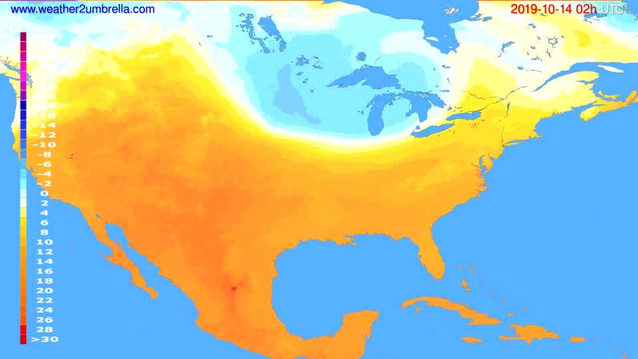 Temperature forecast USA & Canada // modelrun: 00h UTC 2019-10-11