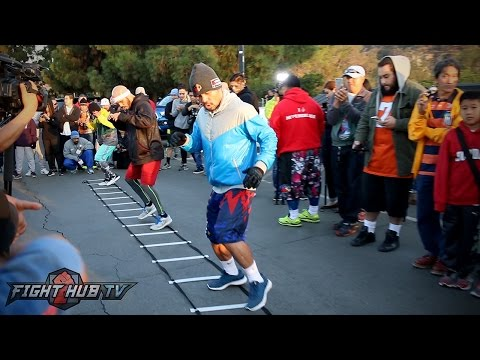 Manny Pacquiao Full Footwork workout in the mountains of Los Angeles- Pacquiao vs. Vargas