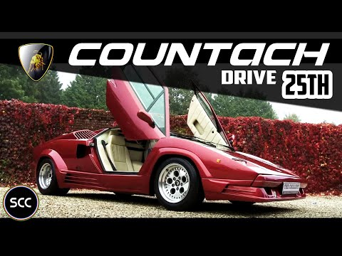 LAMBORGHINI COUNTACH 25th Anniversary 1989 – Full test drive in top gear – V12 Engine sound | SCC TV