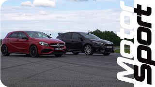 Drag race : Ford Focus RS VS Mercedes A 45 AMG by Motorsport Magazine