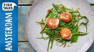 Pan Fried SCALLOPS & Sea Vegetables | Bart van Olphen by Bart's Fish Tales