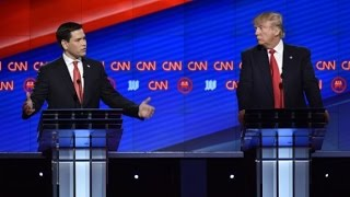 Speaking at the CNN Republican debate in Miami, presidential candidates Donald Trump and Marco Rubio spar about the U.S-Cuba relationship.