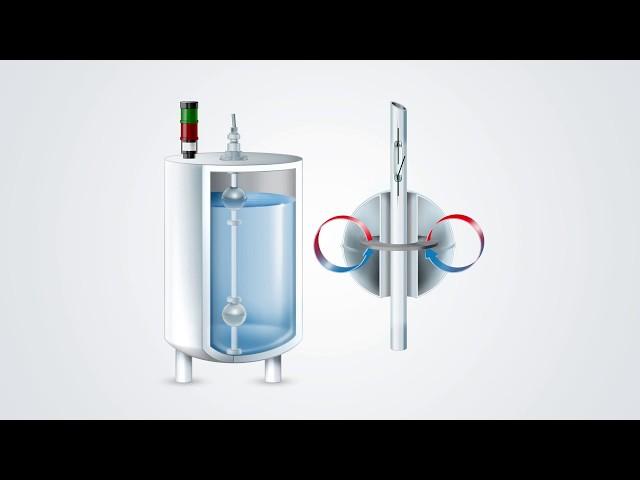Starší provedení vertikálního plovákového magnetického spínače hladiny s červeně lakovanou hlavicí