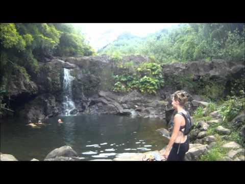 Beautiful maze of bamboo and waterfalls on the island of Maui