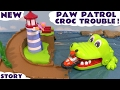 Paw Patrol Stop Motion Croc Trouble Wally Rescue with Zuma Skye Roll Patrol Toys & Play Doh TT4U