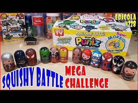 SQUISHY BATTLE CHALLENGE sfida tra SUPEREROI PUNIZ marvel (Edicola) (видео)