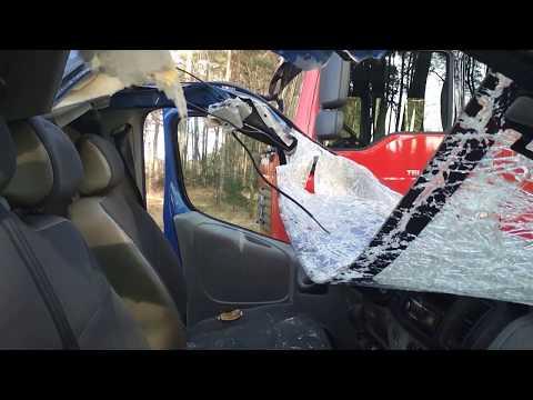 Wideo1: Bus zderzył się z jeleleniem na trasie Gołanice - Święciechowa