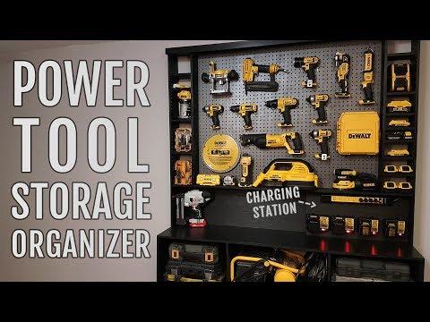 Diy Power Tool Storage Organizer w/ Charging Station