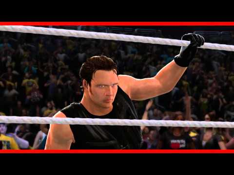 finisher - Dean Ambrose makes his entrance and hits the Headlock Driver on Jinder Mahal in WWE 2K14. WWE.2K.com.