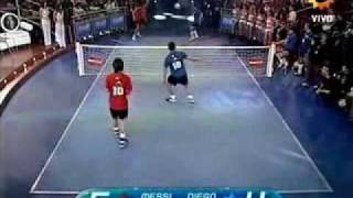Messi & Tevez VS Maradona & Enzo Football Tennis, maradona,ban thang dep,sieu pham