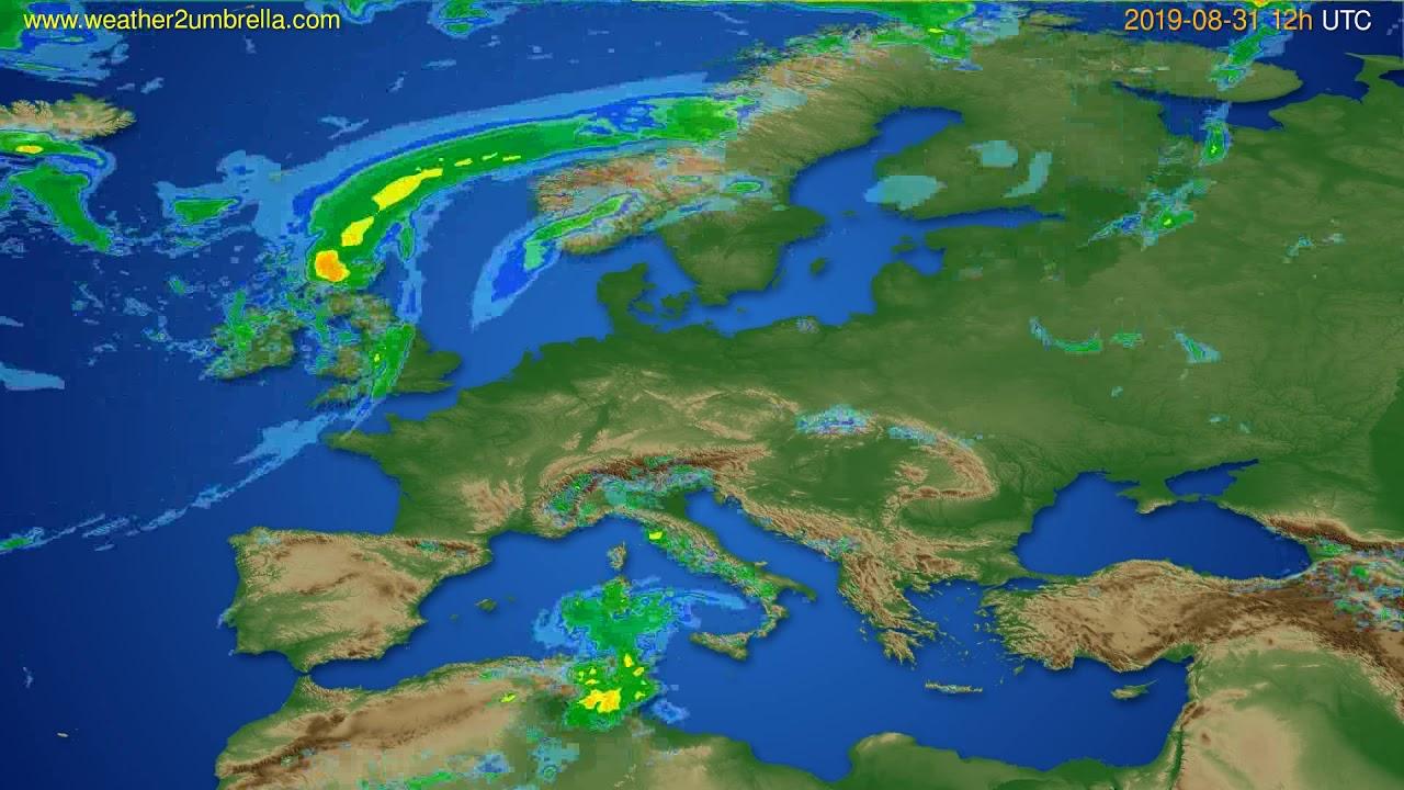 Radar forecast Europe // modelrun: 00h UTC 2019-08-31